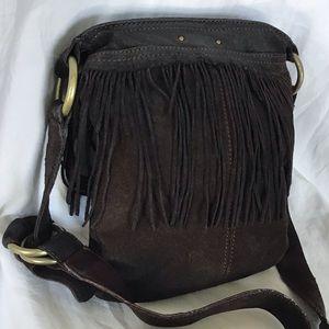 Ugg Leather Fringe Crossbody Bag